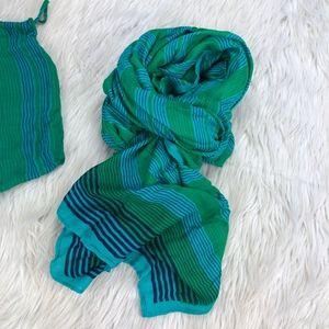 Stella & Dot Turquoise Stripe Palm Springs Scarf/W